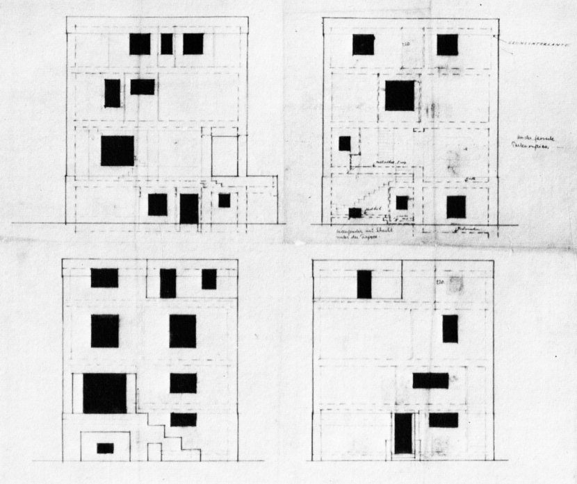 Adolf Loos Rufer House, Elevations, Vienna Austria 1992